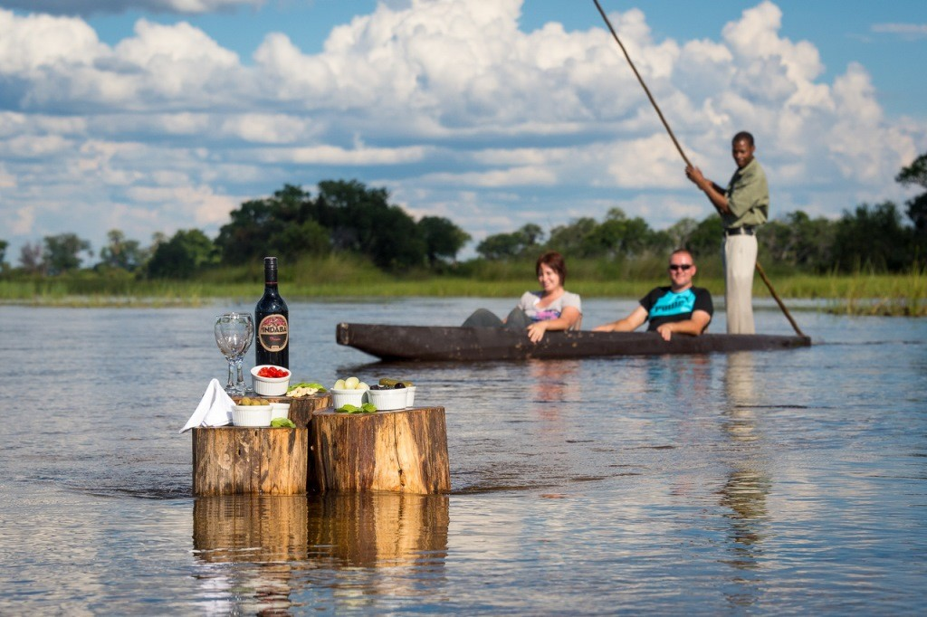 South African wine and nibbles, enjoyed mokoro boating, Pelo Camp, Okavango Delta, Botswana