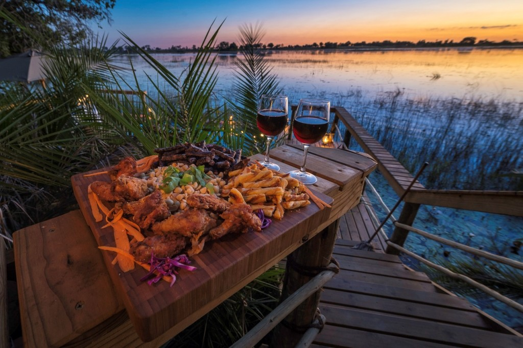 Fried chicken and bbq sausages, Pelo Camp., Okavango Delta, Botswana safari suppers