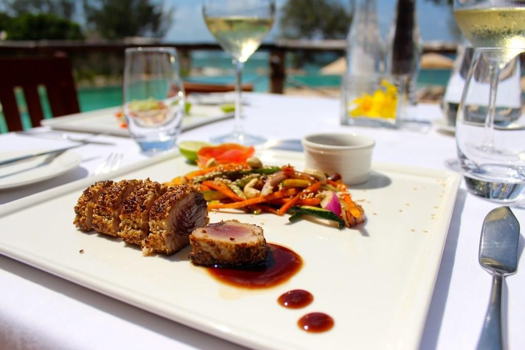 Sesame Tuna and stir fry vegetables at Saruni Ocean, Kenya