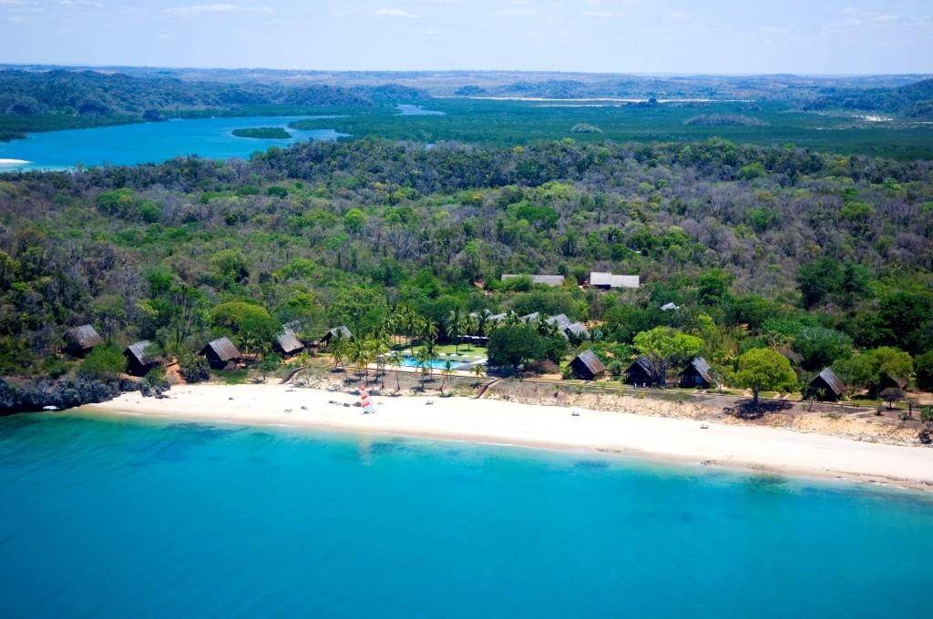 White sand beach at Anjajavy Hotel