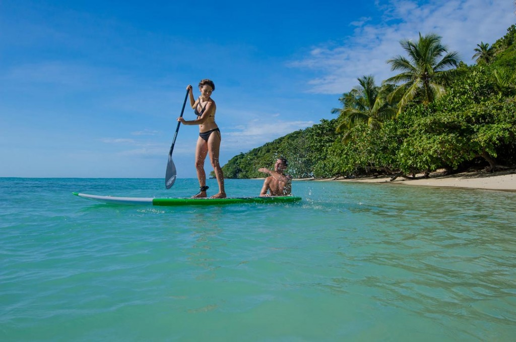 Stand up paddle boarding at Princesse Bora Lodge and Spa