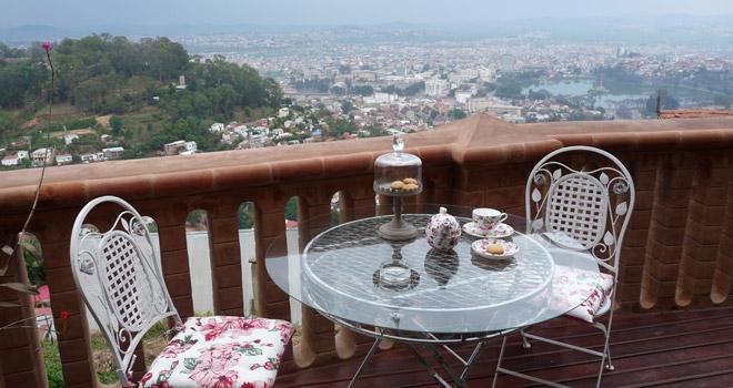View of Antananarivo from the balcony at Lokanga, Madagascar