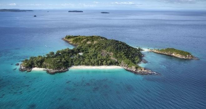 Aerial of Tsarabanjina private island, Nosy Be, Madagascar