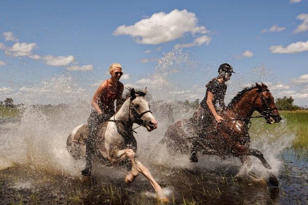 Riders splashing through the Okavango Delta, African Horseback safaris