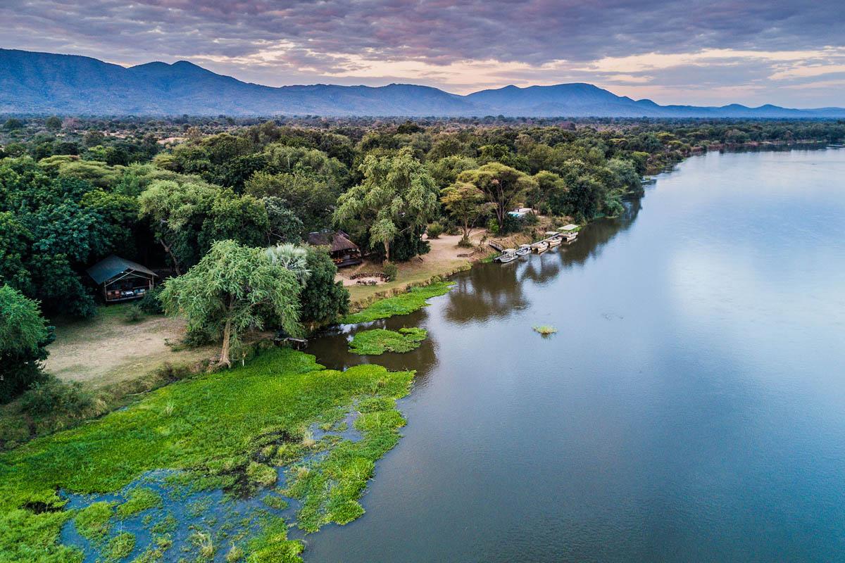 Chiawa aerial view by Zambezi river