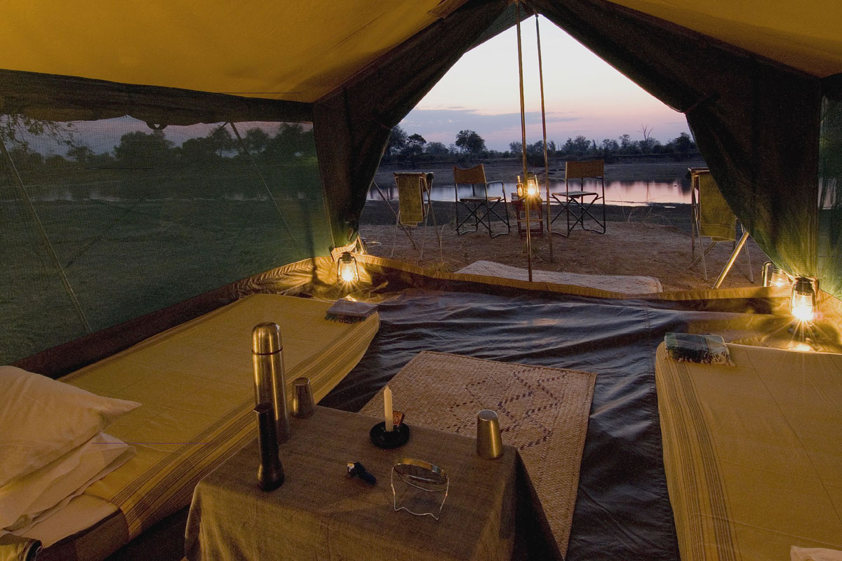 Bedroom tent at Luangwa Bush Camping