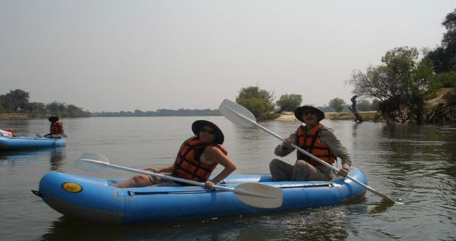 Canoe trip, Chundukwa River Lodge canoe safaris blue inflatable two person