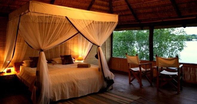 Bedroom at Chundukwa River Lodge canoe safaris luxury accommodation river front