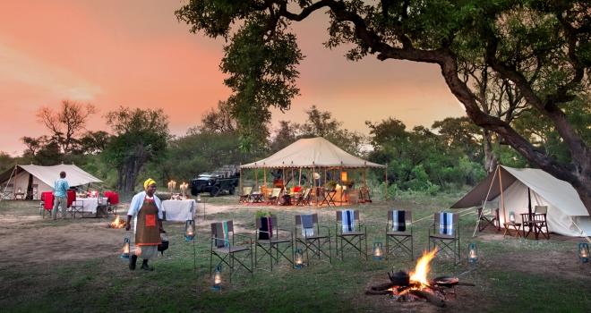 A typical safari camp site, Tanda Tula Field Camp, Kruger Park