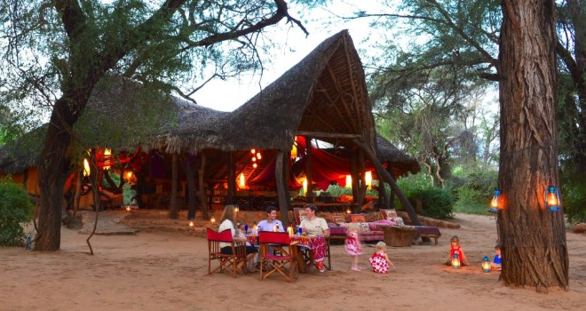 Alfresco dinner at Saba Douglas-Hamilton's Elephant Watch Camp