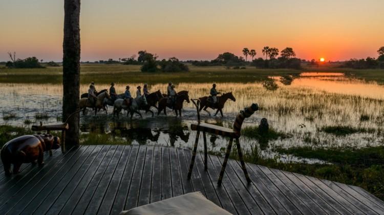 Group of horse riders through the Okavango Delta at sunset Botswana African Horseback Safaris