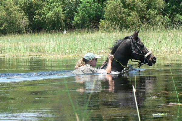 Barney Bestelink riding in the Okavango