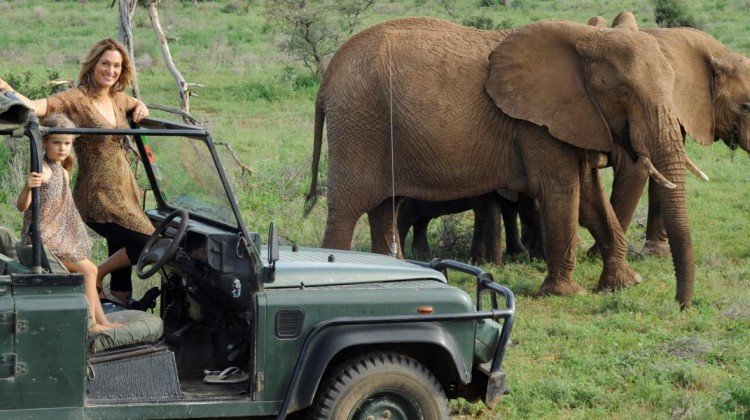 Saba Douglas-Hamilton, elephant conservationist, elephant safari guide and daughter in a 4x4 with two elephants, Samburu, Kenya