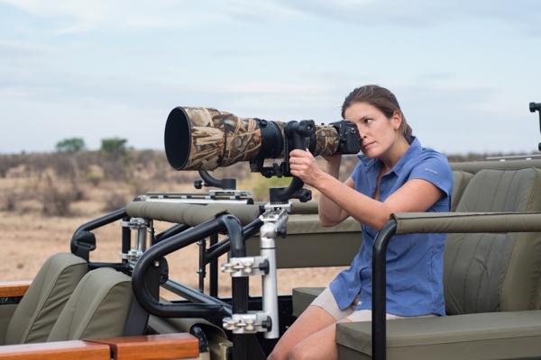 C4 Images specialist photographic vehicle at Mashatu - female photographer