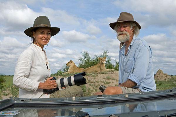 Dereck and Beverly Joubert at Duba Plains Camp, Okavango Delta, Botswana