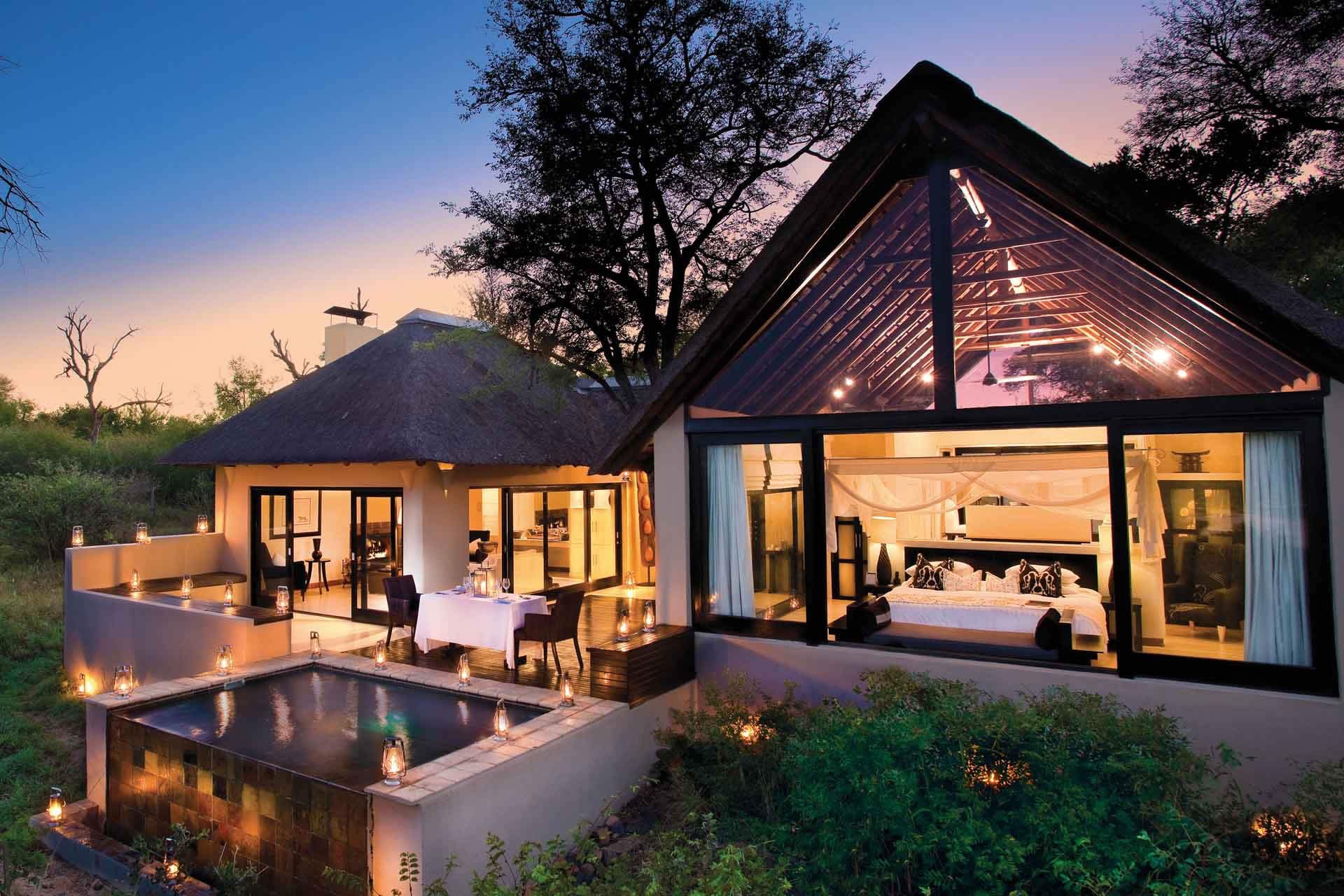 Ivory Sands River Lodge, Sabi Sands, South Africa at night