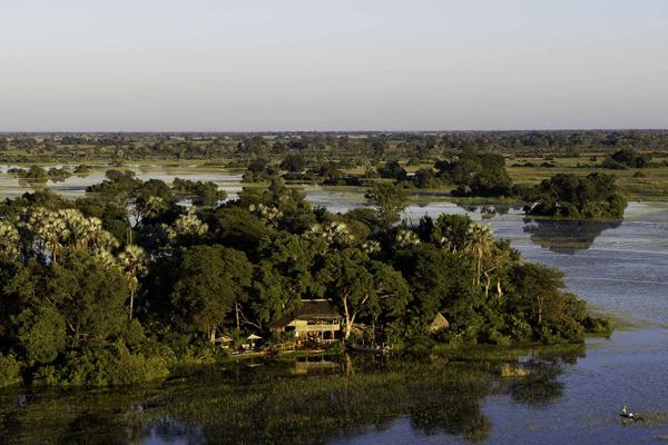 Jacana Camp aerial Okavango Delta Botswana