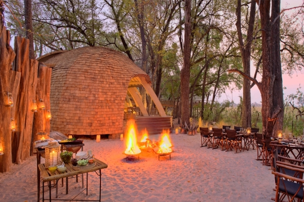 Sandibe Okavango Delta Botswana camp fire And beyond