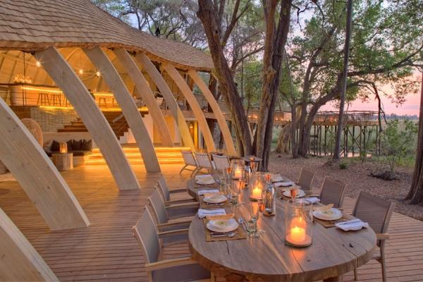 Sandibe Okavango Delta Botswana dining table Andbeyond