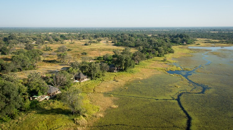Vumbura Plains aerial view Okavango Delta Botswana wilderness safaris
