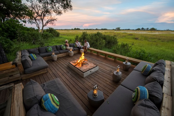 Vumbura Plains bush sundowner outdoor lounge Okavango Delta Botswana wilderness safaris