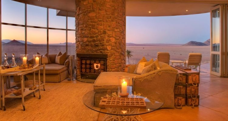 Sossusvlei Desert Lodge living room, NamibRand, Namibia Wilderness Safaris