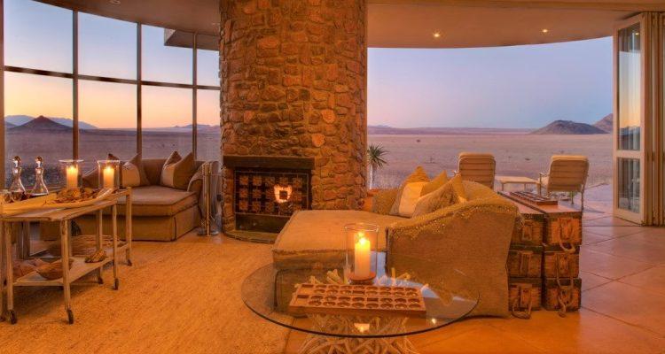 Sossusvlei Desert Lodge living room, NamibRand, Namibia Wilderness Safaris