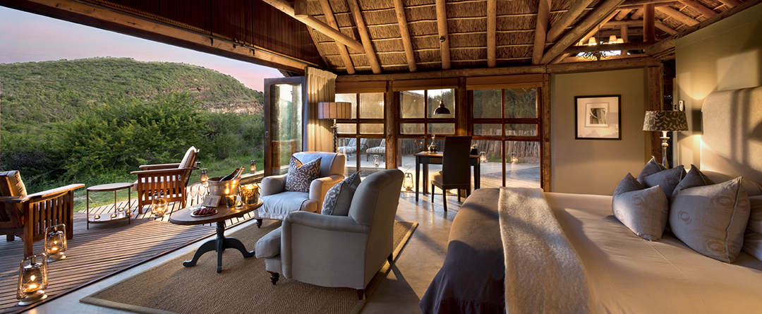 Great Fish River Lodge suite and verandah view Kwandwe South Africa
