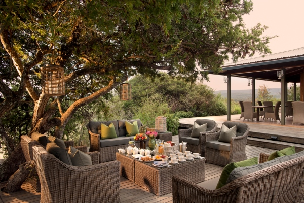 Kwandwe Ecca Lodge dining outside, South Africa