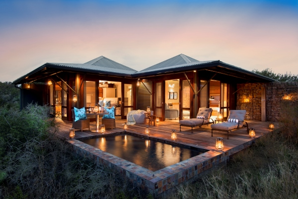 Ecca Lodge suite with plunge pool, Kwandwe, South Africa rhino conservation safari