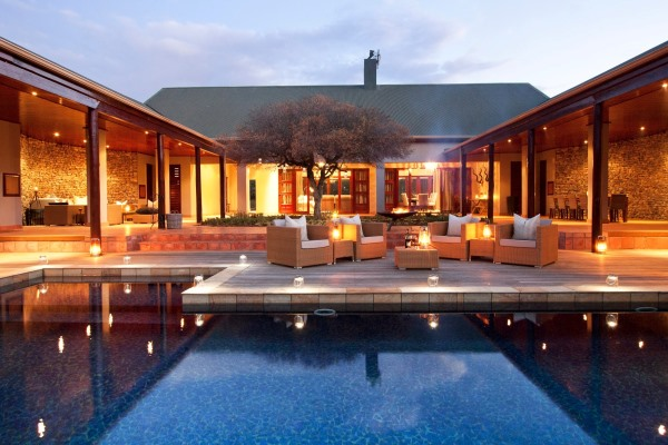 Kwandwe Meilton Manor courtyard and pool, Kwandwe Reserve, South Africa