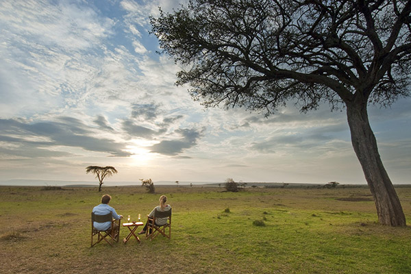Romantic sundowners at Offbeat Mara Camp, Masai Mara, Kenya