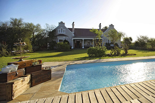 Uplands Homestead pool, Kwandwe reserve South Africa rhino conservation safari