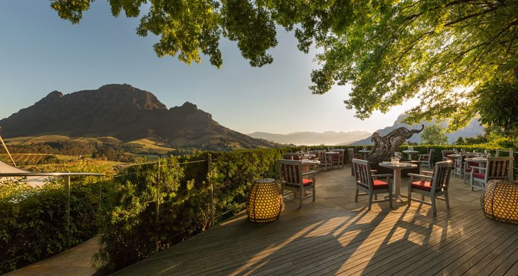 Delaire Graff restaurant exterior and terrace, Cape Winelands, South Africa