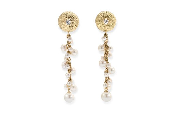 Sea Urchin Dangle Earrings in Gold Patrick Mavros