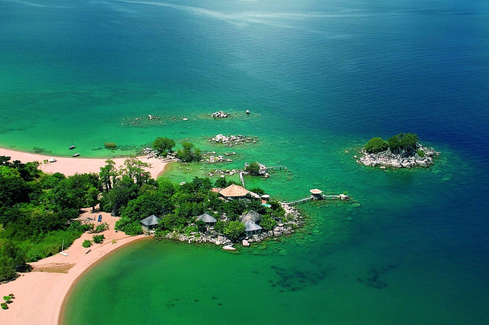 Kaya Mawa aerial Lake Malawi, Malawi