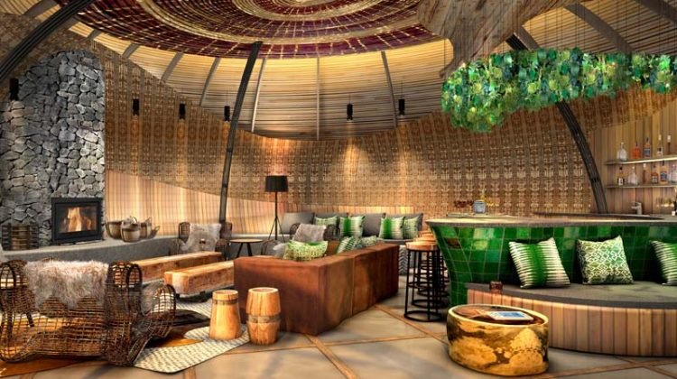 Bisate Lodge lounge artists impression for seeing primates on safari