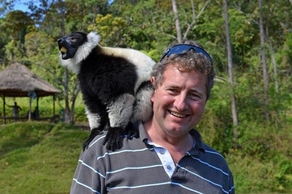 aardvark safaris facts Francis with a lemur in Madagascar
