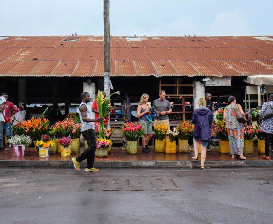 Congo markets Brazzaville street scene
