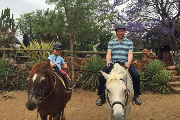 Gully family riding at Ant's Nest, Waterberg, South Africa