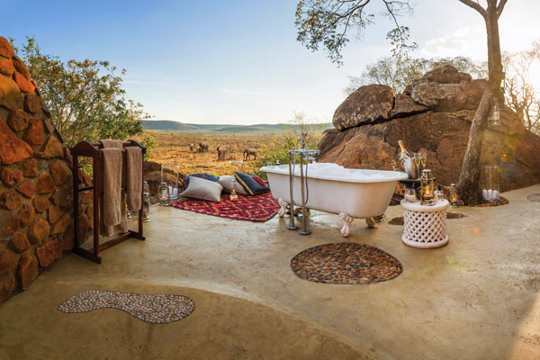 Bath tub with a view of Madikwe Hills South Africa