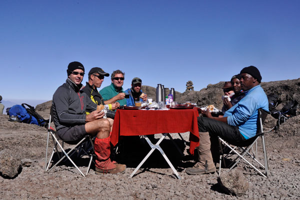 Sunny lunch on Kilimanjaro with Summits Africa