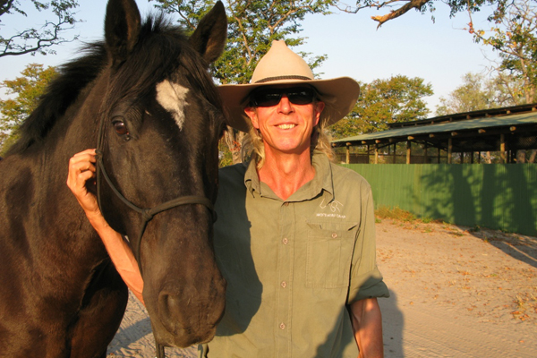 Horse and riding guide Johnno Beddoes at Ride and Walk Botswana