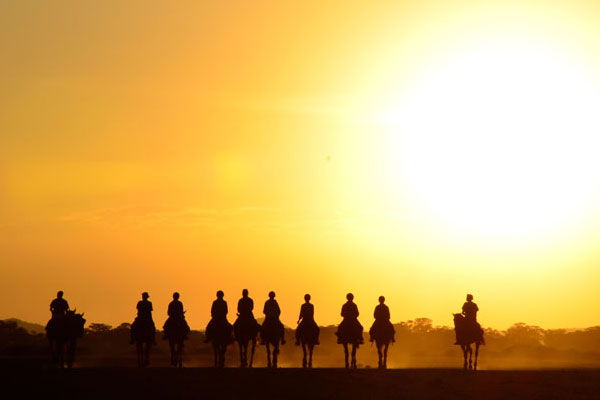 Trail rides Kaskazi riding through sunset silhouette of group riders