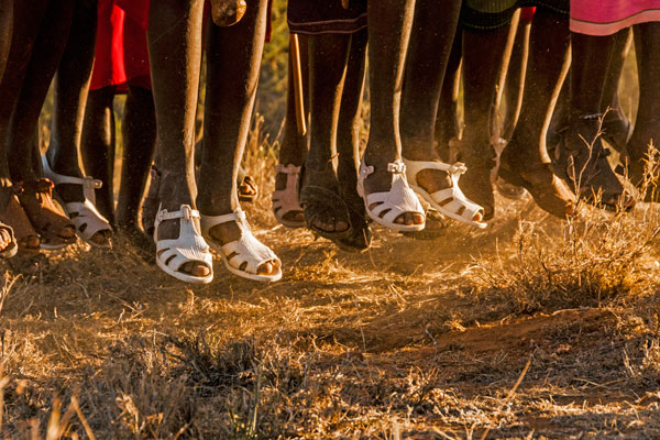 Masai jumping footware close up Sabuk, Laikipa, Kenya