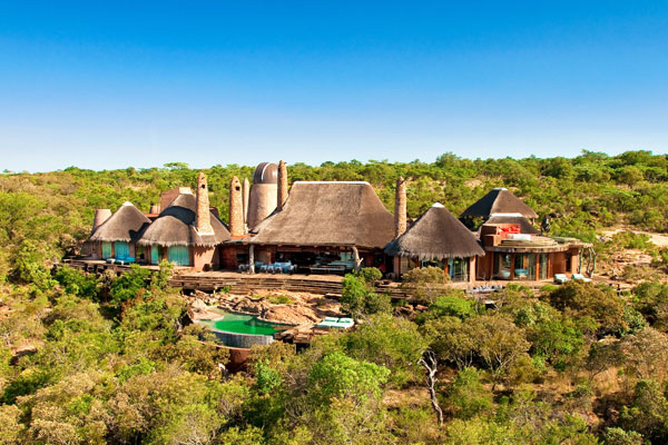 Pool aerial shot Leobo Observatory, Waterberg South Africa
