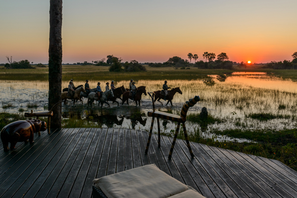 Riders at sunset wading through the Okavango Delta, Botswana, African Horseback Safaris