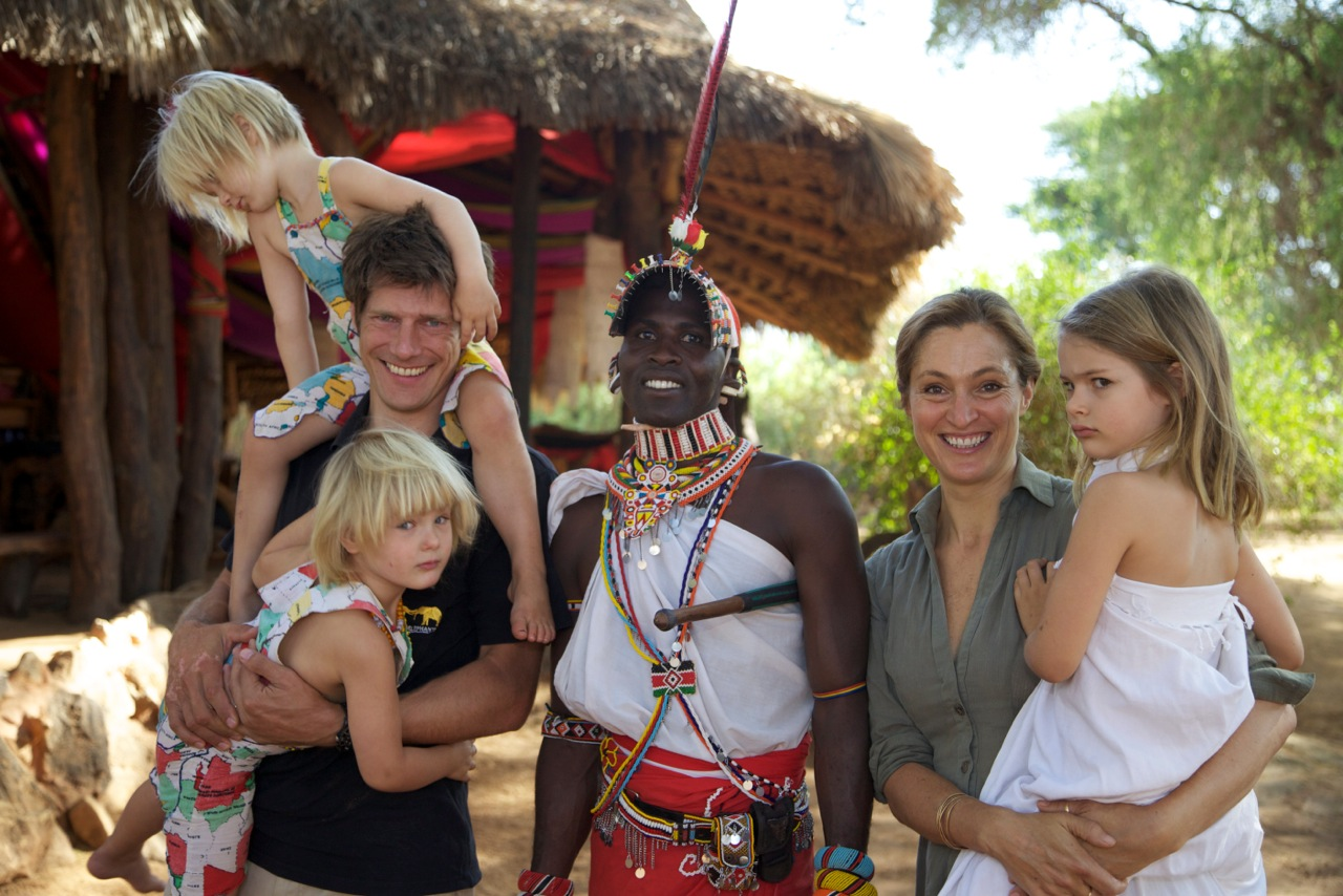 Frank Pope CEO Save the Elephants, Samburu Mporian, Saba Douglas-Hamilton and family at Elephant Watch Camp Kenya