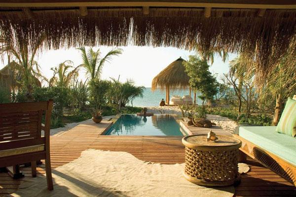 Azura Benguerra bedroom suite overlooking pool and beach Mozambique