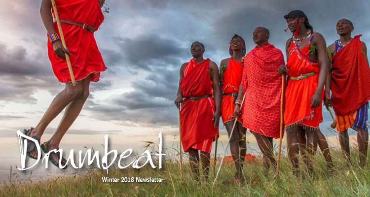 Drumbeat Winter 2018 Front Cover Masai Jumping